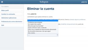 instagram eliminar cuenta